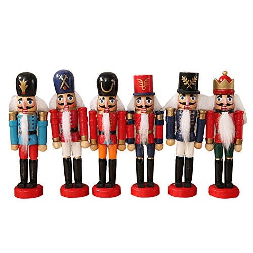 Kennedy Cute Wooden Nutcracker Ornaments Christmas Decoration Mini Puppet Toy Little Tin Soldier Decor 6pcs by Kennedy