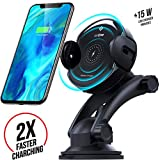 airOne Fast 15W Wireless Car Charger Mount & Automatic QI Fast Wireless Charge & Wireless Charging Car Mount Compatible with iPhone X/Xs/Xs Max/Xr/8/8plus Samsung Galaxy S7/S8/S9 Note 5/7/8 & More