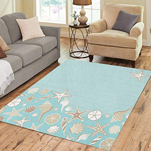 Semtomn Area Rug 3' X 5' Seashell Beach Party Variety of Shells on Aqua Teal Home Decor Collection Floor Rugs Carpet for Living Room Bedroom Dining Room (Best Seashell Beaches On The East Coast)
