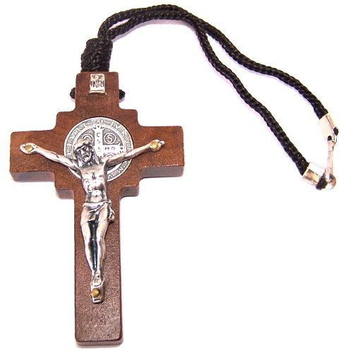 Saint Benedict Wooden Car Crucifix pendant / Necklace w/ CSSMI medal - thick ( 7 cm or 2.75 inches )