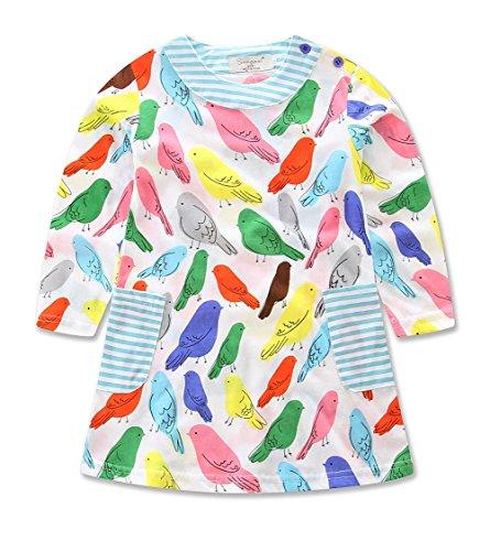 Girls Cotton Birds Animals Print Crewneck Long Sleeve T-shirt Dress (3-4Y, Bird) (Animal Dress For Kids)