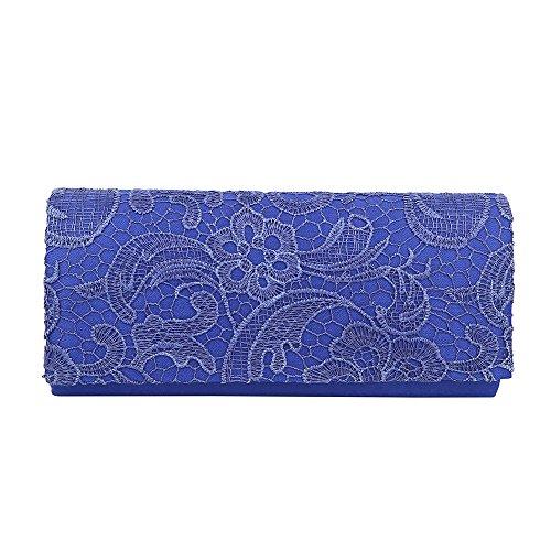 HotStyleZone diseño de flores de multicolor con lazo y pedrería para de baño de mujer de satén de encaje de la mochila de bolso WEDDING EVENING Azul