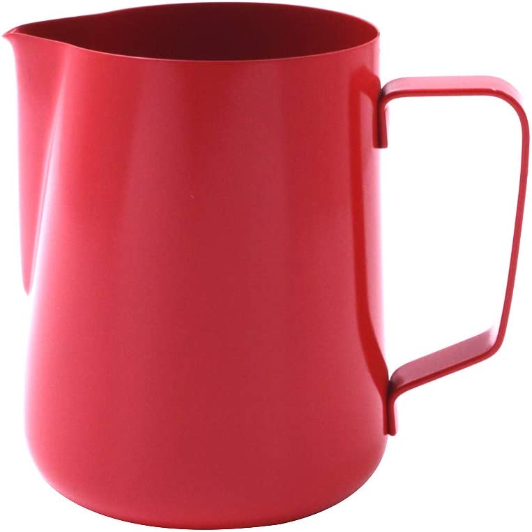 Coffee Tree Espresso Coffee Milk Pitcher Non-stick Coating Milk Pitcher Milk Frothing Pitcher (Red, 20oz)