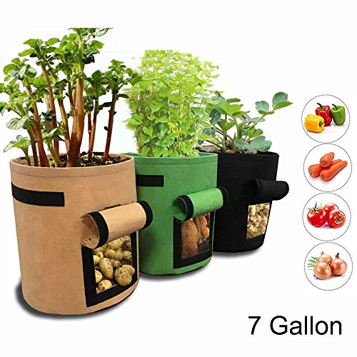 (GEMGO 3 Pack Potato Grow Bag, 7 Gallon Aeration Waterproof Fabric Sweet Potato Planter, Velcro Window Vegetable Peanut Growing Box Bucket Pot for Nursery Garden (3 Pack, Black Brown Green))