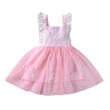 5f04e1feea38 Longra Mädchen Kleid Festlich Prinzessin Hochzeit Freizeitkleid Party Kleid  Sommerkleid Babymode Kindermode Mädchen ärmellose Spitze Splice
