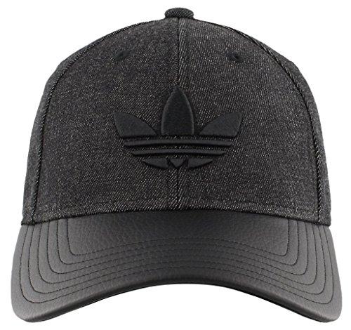 Cap Denim Headgear (adidas Men's Originals Trefoil Plus Precurve Structured Cap, Black Denim/Black, One Size)