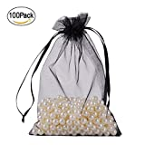 iLoving 100 PCS Black Organza Gift Bags 4x6 Small Drawstring Party Wedding Favor Gift Bags Jewelry Bags