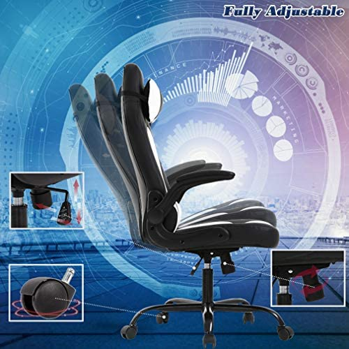 BestOffice PC Gaming Chair Ergonomic Office Chair Desk Chair with Lumbar Support Flip Up Arms Headrest PU Leather Executive High Back Computer Chair for Adults Women Men, Black and White 51rovCybCCL