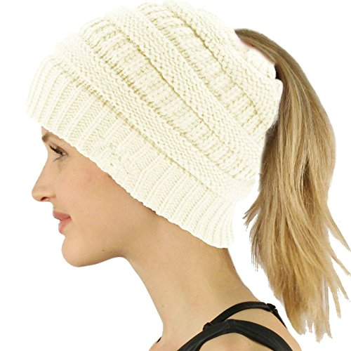 d6f624b724be2 COCO LEE Chic White Knit Hat Cable Beanie Stretch Chunky Winter Bun  Ponytail Beanie Tail Womens Ponytail Messy Bun Beanie Solid Ribbed Hat Cap  for Women ...