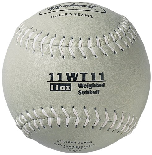 Leather Softball Synthetic 11' (Markwort Color Coded Weighted 11-Inch Softball (11-Ounce, Grey))