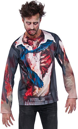 Pizazz! Men's Undead Businessman Zombie Graphic Shirt Costume Large 42-46 -