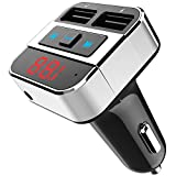 LeeQin Bluetooth FM Transmitter, Wireless Radio Transmitter Adapter Dual USB Ports/Support USB Disk/AUX Input, Hands-free Calling Car Kit iPhone, Samsung other Smartphone