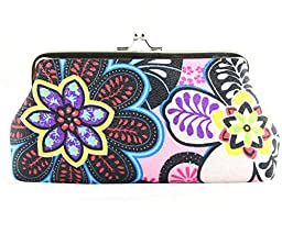 iSuperb® Coin Wallet Floral Pattern Purse Canvas Handbag Gift Jewelry Cards Trinkets Pouch Clasp Closure Pouch (Pink)