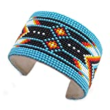 La viva HOLIDAY SHOPPING Turquoise NonNative Beaded Bracelet Cuff Leather Wide B53/6 6.5x1.5In Multicolor