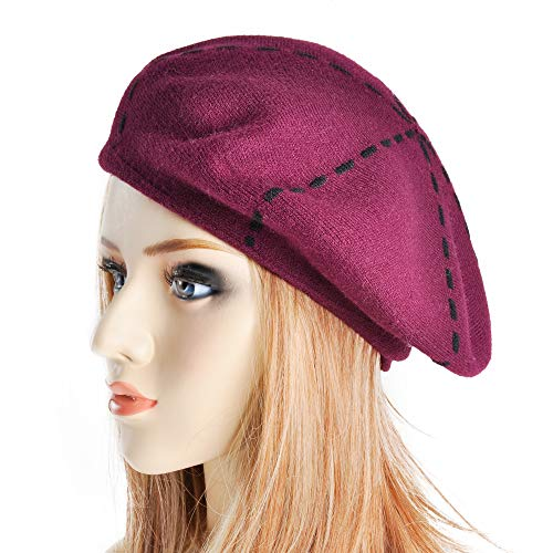 ZLYC Womens Reversible Cashmere Beret Hat Double Layers French Beret (Wine) by ZLYC