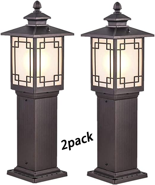 YAYADU Farolas Jardin Exterior Luz del Césped Impermeable IP33 Aluminio Paisaje Jardín Patio Iluminado Luces Decorativas, 2 Estilos (Color : Brown, Size : 18x60cm): Amazon.es: Hogar