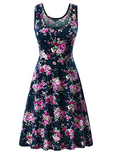 Cotton Sundress Dress - FENSACE Womens Sundress Summer Floral Skater Dress 170301 XLarge