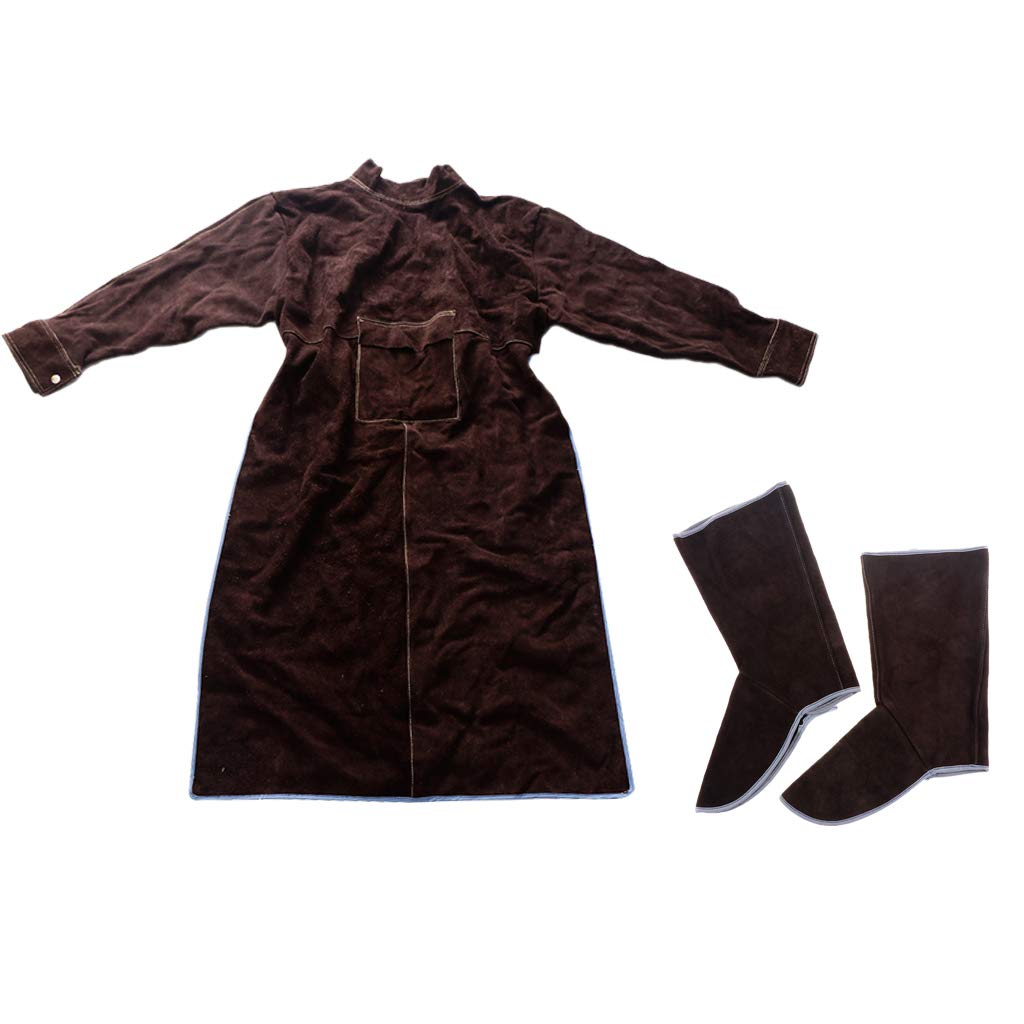 Baosity Heavy Duty Leather Welding Coat Work Apron XXL+ 1Pair Welding Foot Covers - Heat Resistant & Flame Resistant BBQ Apron, Adjustable, Brown by Baosity (Image #10)