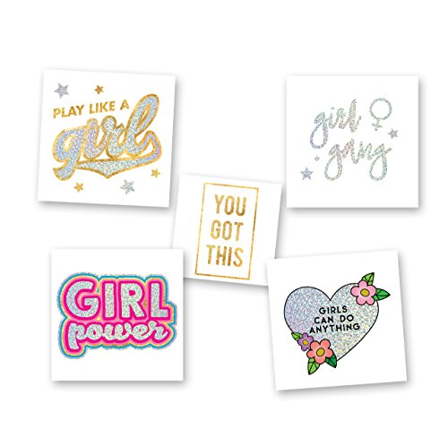 (GOOD TO BE A GIRL VARIETY SET set of 25 assorted premium waterproof metallic silver jewelry temporary foil party Flash Tattoos, metallic tattoo, girl power, girl gang, you got this )