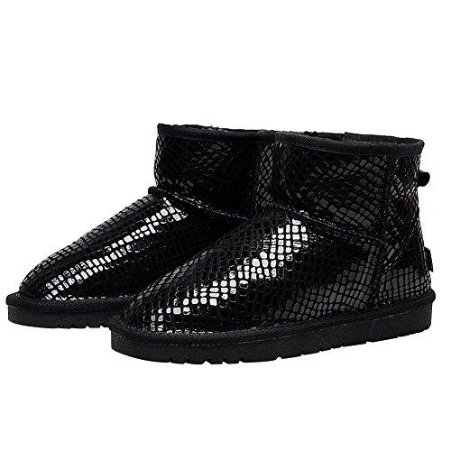 Rismart Mujer Último Moda Negro Lentejuela Invierno Botas Forrado de Piel Caliente Botas de Nieve Negro