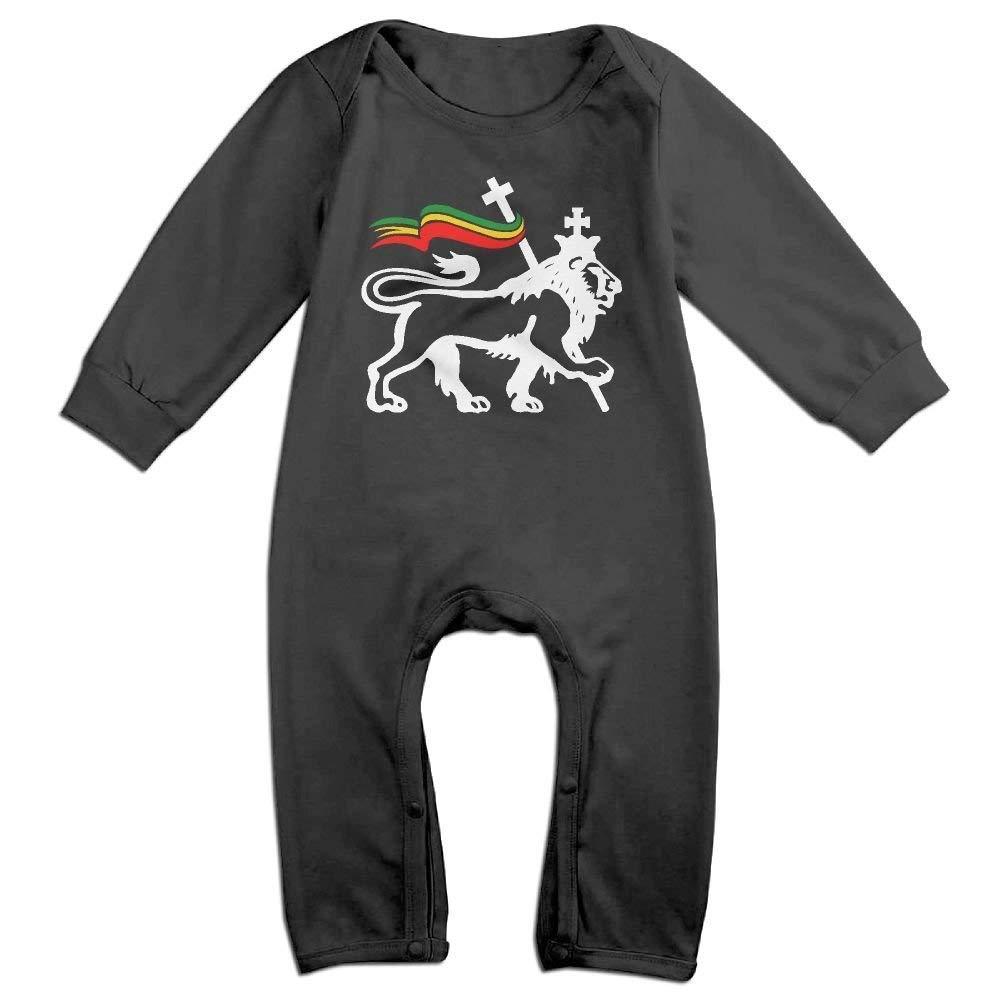 T-Shirt Manica Lunga da Neonato per Neonato Rasta Lion of Judah Long Sleeves Onesie Rompers Baby Kids
