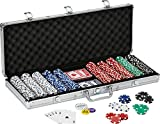 Fat Cat 11.5 Gram Texas Hold 'em Clay Poker Chip Set with Aluminum Case, 500 Striped Dice Chips (Sports)