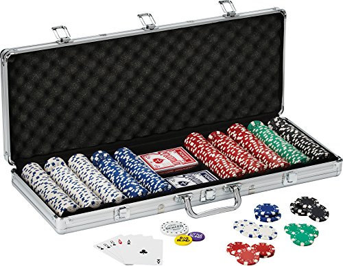 Fat Cat 11.5 Gram Texas Hold 'em Clay Poker Chip Set with Aluminum Case, 500 Striped Dice Chips (Aluminum Poker Chip Case Holds)