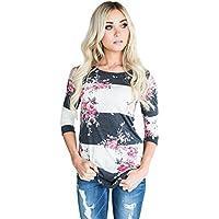 akabela Casual 34Sleeve Floral cuello redondo Camisetas Blusas Tops de rayas de impresión de la mujer