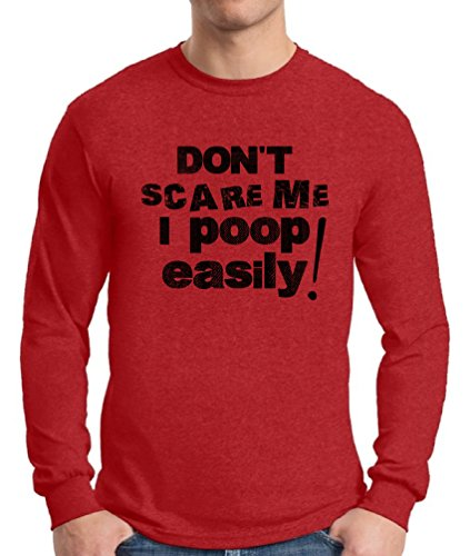 Awkward Styles Men's Don`t Scare Me I Poop Easily Long Sleeve T Shirt Tops Funny Sayings Red XL]()