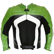 New Mens Razer Motorcycle Biker Armor Mesh & Leather Green Riding Jacket XL