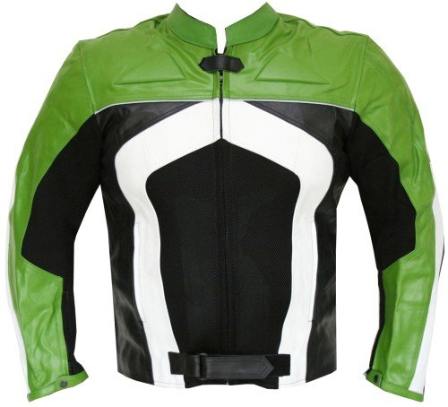 New Men's Razer Motorcycle Biker Armor Mesh & Leather Green Riding Jacket 3XL ()