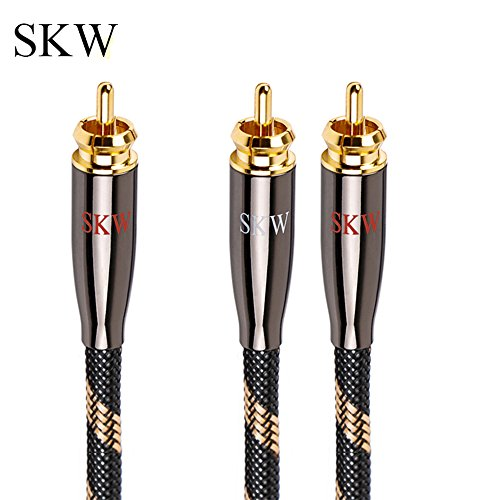 SKW High-end Audio Cable RCA Male to 2RCA Male Stereo Audio Cable,High Fidelity Signal Cable with OD 6.0mm (4.9ft/1.5M,Black)