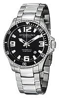 Stuhrling Original Men's 395.33B11 Aquadiver Regatta Champion Professional Diver Swiss Quartz Date Black Bezel Watch by Stuhrling Original
