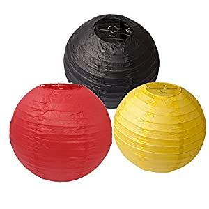 HEARTFEEL 8 inch Chinese Paper Lanterns Black Red Yellow Mixed Colors Paper Lights Pack of 6 for Wedding Party Decoration Baby Shower Birthday Decoration Round Paper Lantern (PLM-8)