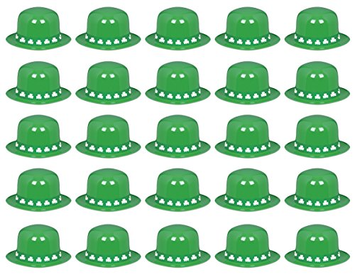(Beistle 33981 Plastic Derby with Shamrock Band, Green and White, Pack of 25 Hats)