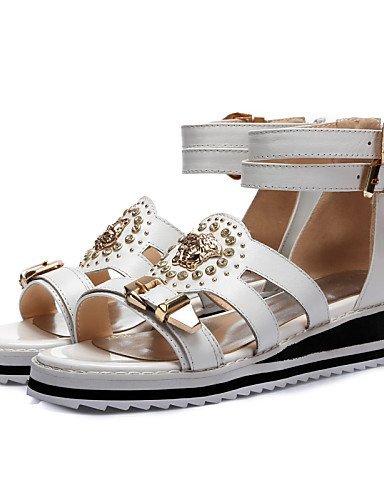 Chaussures Blanc Shangyi Femmes Extérieur Robe Casual Coincent Sandales Bout Noir Coins À Ouvert Talon Slingback rrgZ6qx