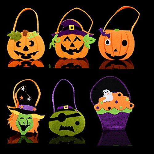 Halloween Bag Kids Candy Bag for Halloween Party Costumes 6 Pcs Bags (Halloween Bean Bag Toss Pattern)
