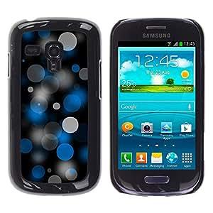 QCASE / Samsung Galaxy S3 MINI NOT REGULAR! I8190 I8190N / puntos spots arte patrón de papel tapiz azul negro gris / Delgado Negro Plástico caso cubierta Shell Armor Funda Case Cover