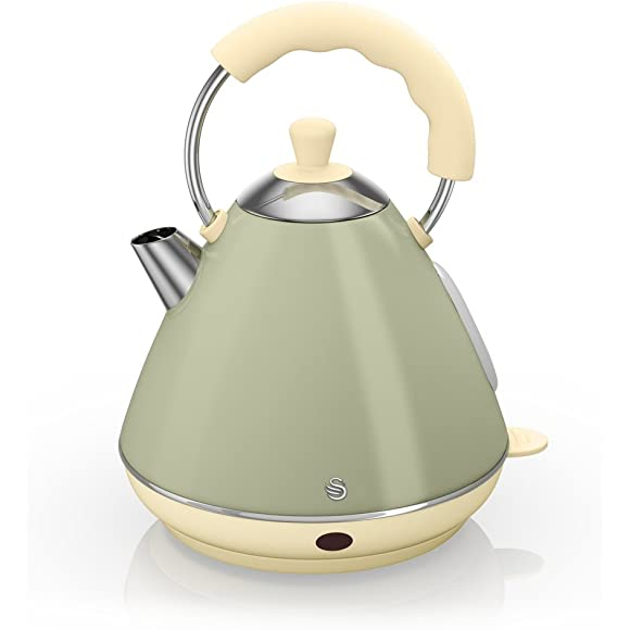 Swan Retro Olive Green Pyramid Kettle - 2 Litre
