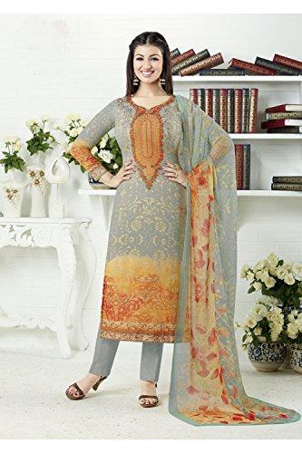 Da Facioun Femmes Indiennes Concepteur Partywear Ethniques Kameez Traditionelles Anarkali Salwar Orange Gris 9
