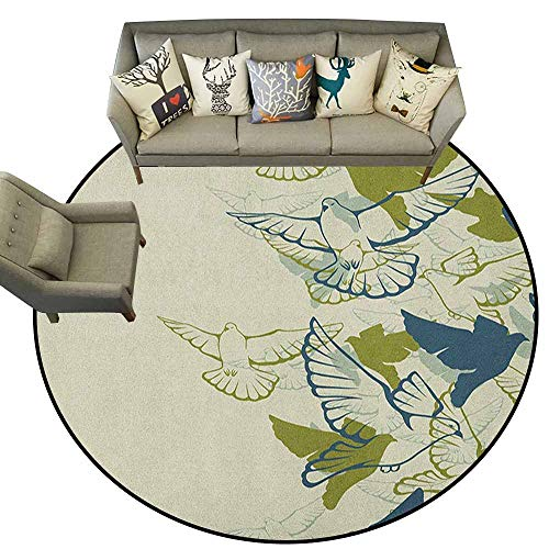 Hedda Clare Home Decor Circle Area Rug,Birds,Original Colored Image of a Flock Flying Pigeons in The Sky Wings Future Theme, Grean Teal Cream,Welcome Mat Living Room Rug5.2 feet - Original Karastan Collection Runner