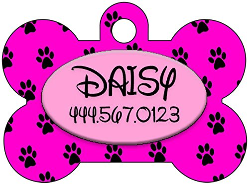 (Personalized Dog Tag Pet ID Tag Paw Prints w/Name & Number (Pink))