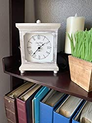 "Rustic Wood Clock for Shelf, Table Or Desk 9""x7"" - Old Fashioned Distressed White Washed Classical Look for Office, Bedroom, Vintage Fireplace Mantel, Family, and Living Room. AA Battery Operated from Tasse Verre"