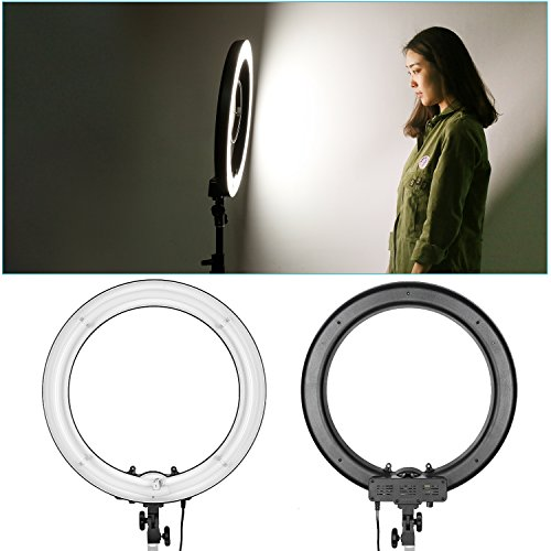 Neewer Dimmable Fluorescent Ring Light, 18 inches Outer 75W(600W Equivalent) 5500K Studio Light, Soft Lighting without Dazzling Glares for Makeup Portrait Photography YouTube Vine Video Shooting