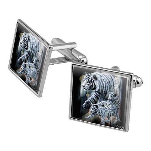 Graphics and More White Bengal Tigers Square Cufflink Set Silver - Cufflinks Bengals