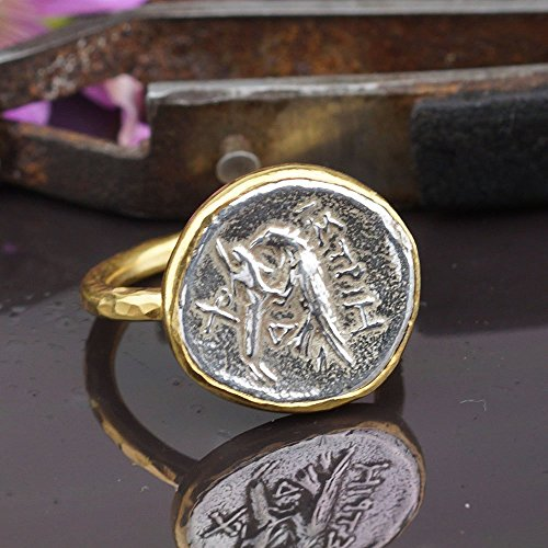 Sterling Silver 925k Handcrafted 24k Gold Vermeil Ancient Roman Art 2 Tone Coin Ring Turkish Jewelry