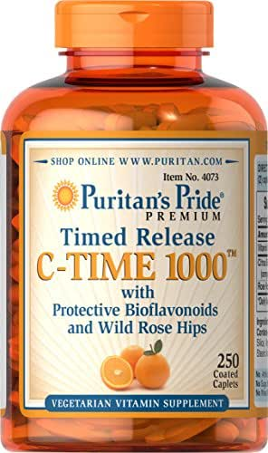 Puritans Pride Vitamin C-1000 mg with Rose Hips, 250 Count