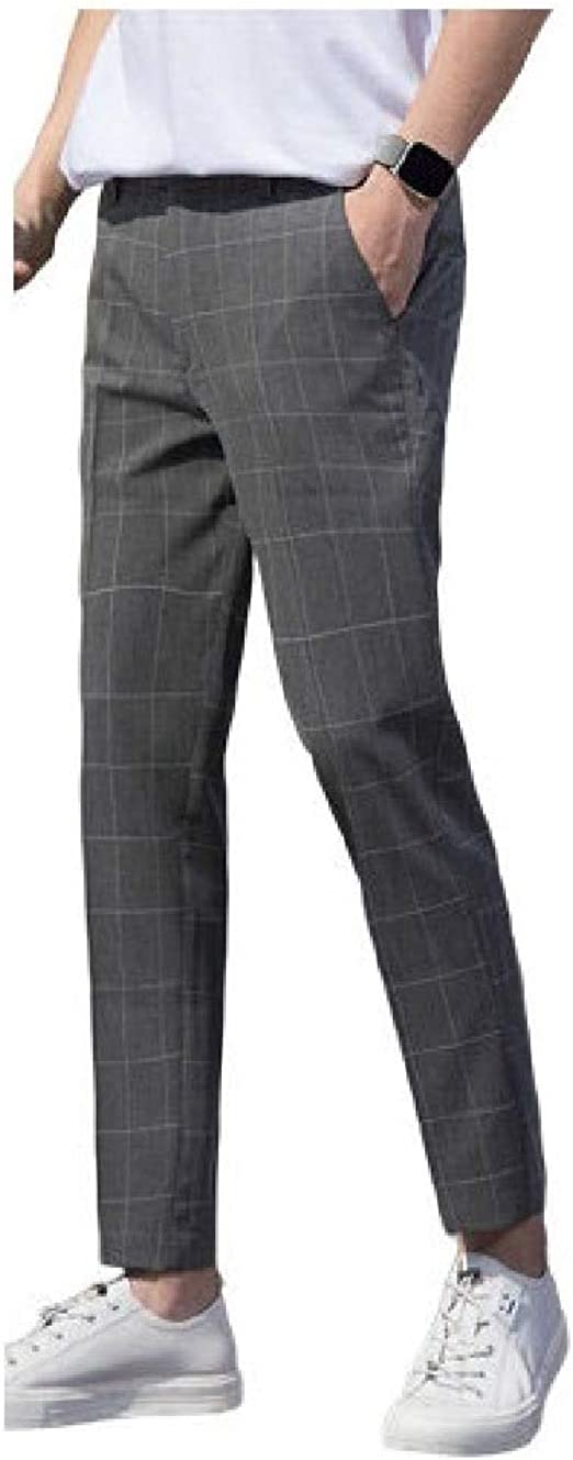 Tootess Mens Pocketed Wrinkle-Resistant Plaid Flat-Front Uniform Plain-Front Pant
