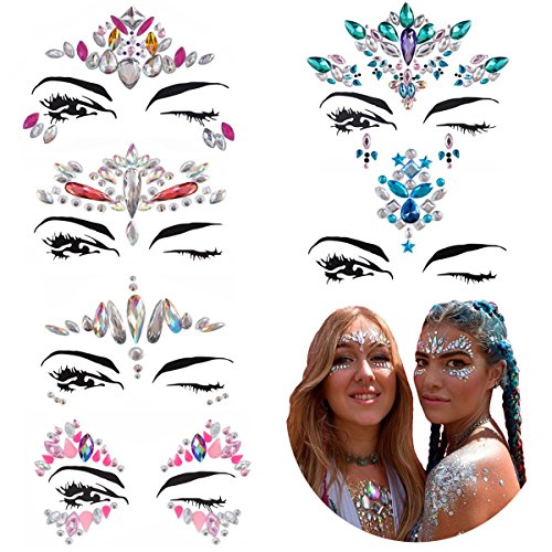 Kyerivs Face Jewels Stickers Women Crystal Rhinestone Multicolor Crystals Sticker Temporary Stickers Forehead Body Decorations& Freebie Inside (Pattern Set 3) by Kyerivs