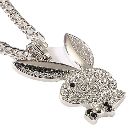 Grenf Fashion 18k Gold Silver Plated Mens Hip-hop Rhinestone Playboy Bunny Club Necklace Pendant with 3mm 31 Inch Cuban Chain (Silver)